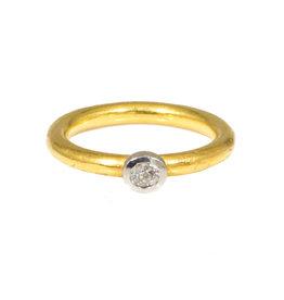 Bezel Set Diamond Ring in Platinum with 22k Band