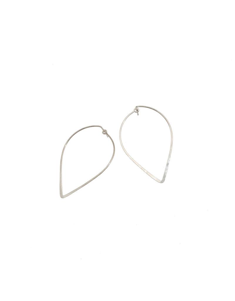 Reverse Teardrop Hoop Earrings in Silver
