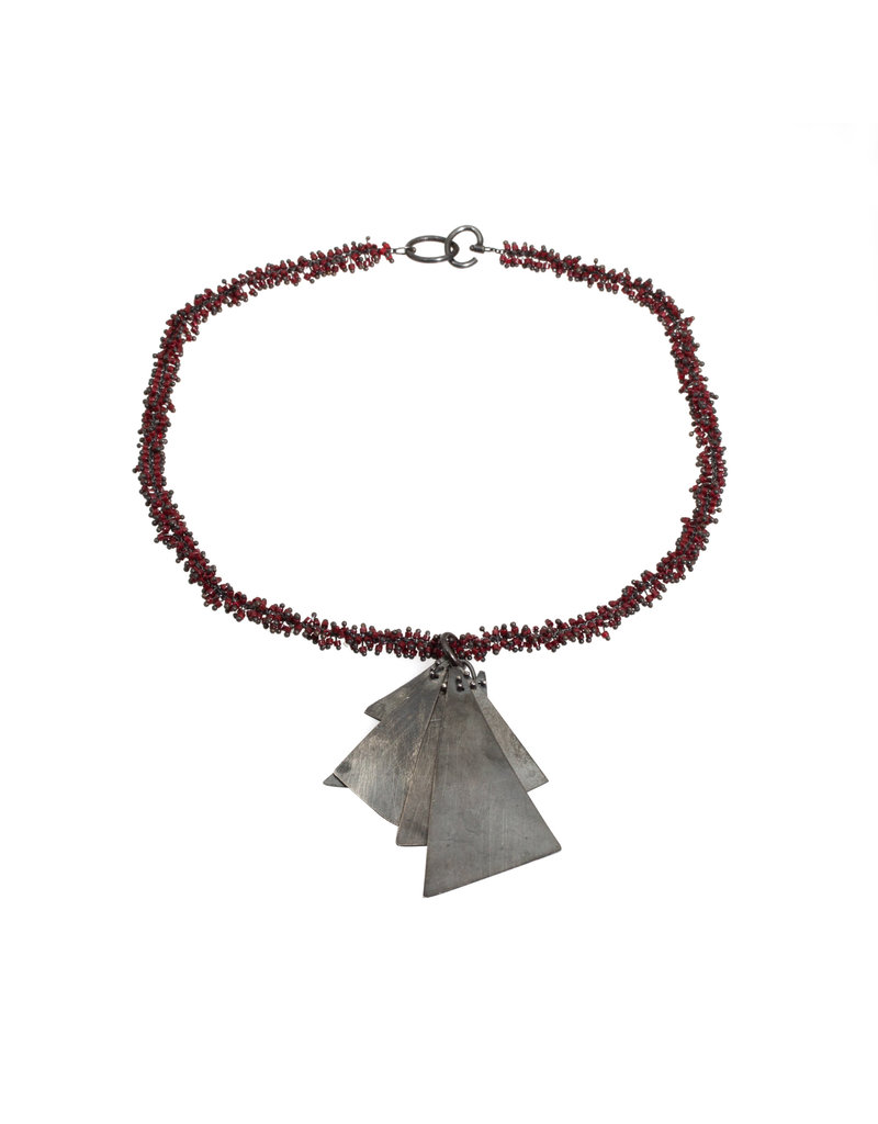 Triangle Necklace with Red Seed Beads