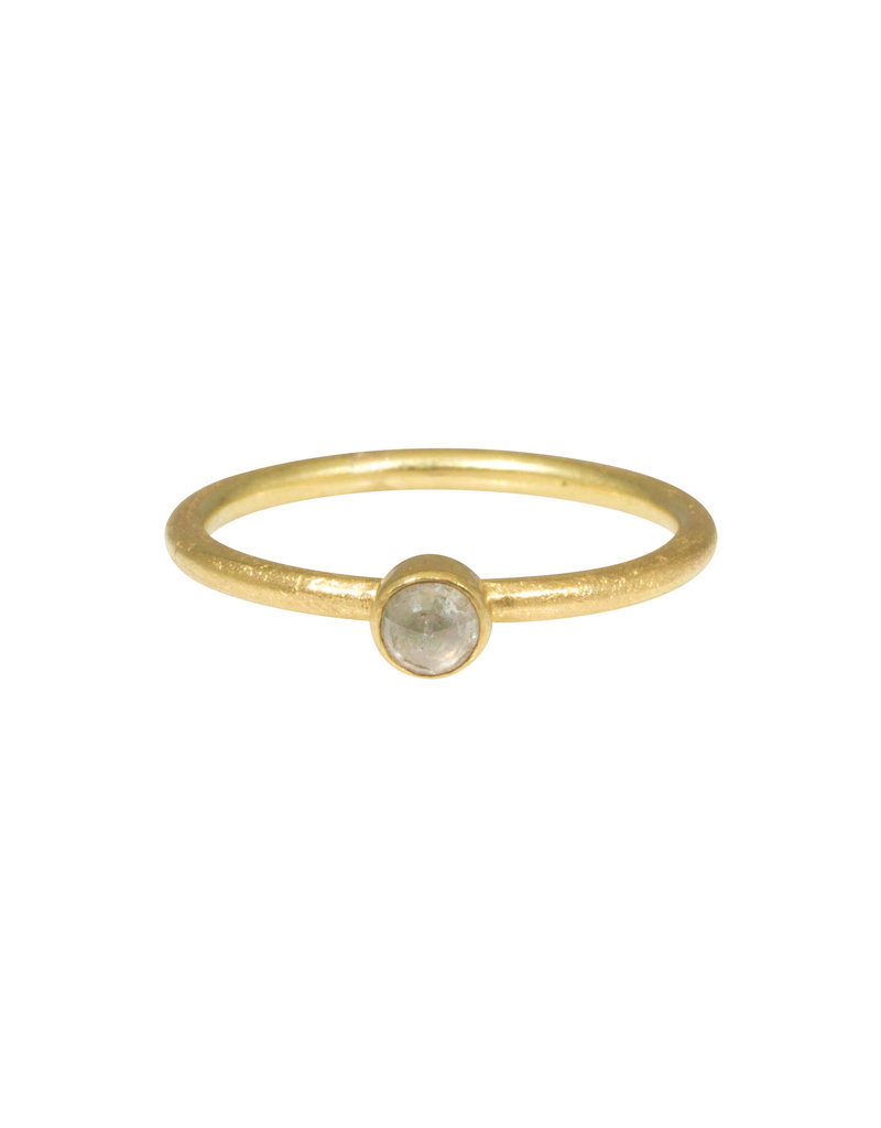 Rustic Diamond Stacking Ring in 18k Yellow Gold