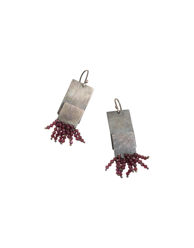 Rectangular Earrings in Oxidized Silver with Garnet Beads