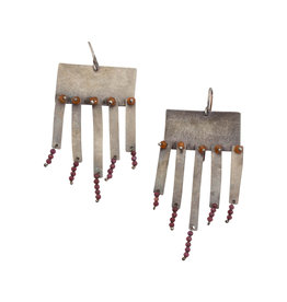Rectangular Earrings in Oxidized Silver with Garnet Bead Fringe