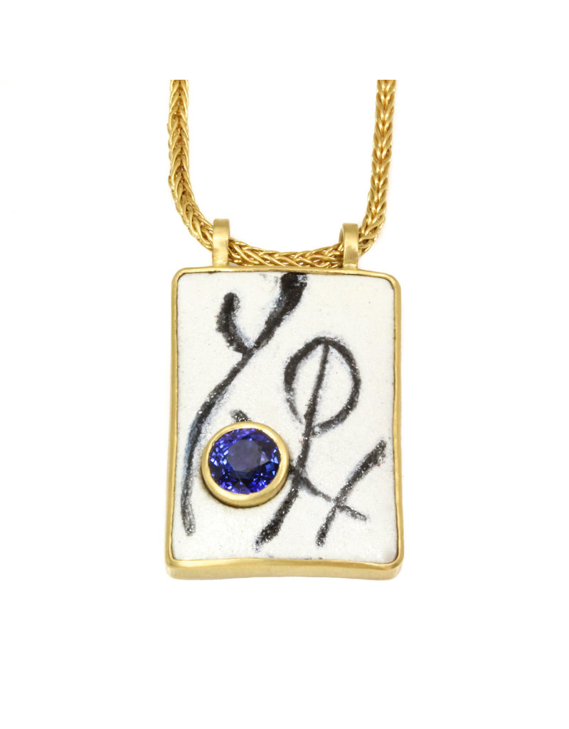 CUSTOM Painted Enamel Pendant in 18k & 22k Yellow Gold with Client's Sapphire