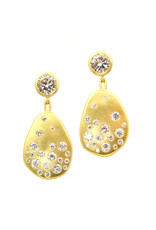 CUSTOM Scattered Pathways Diamond Earrings in 18k Yellow Gold