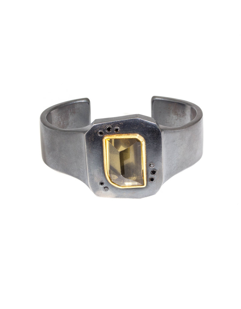 CUSTOM Cuff Bracelet with Client's Citrine in Oxidized Silver