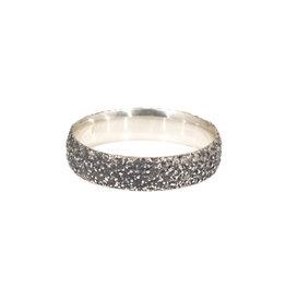 Oxidized Silver Sand Band