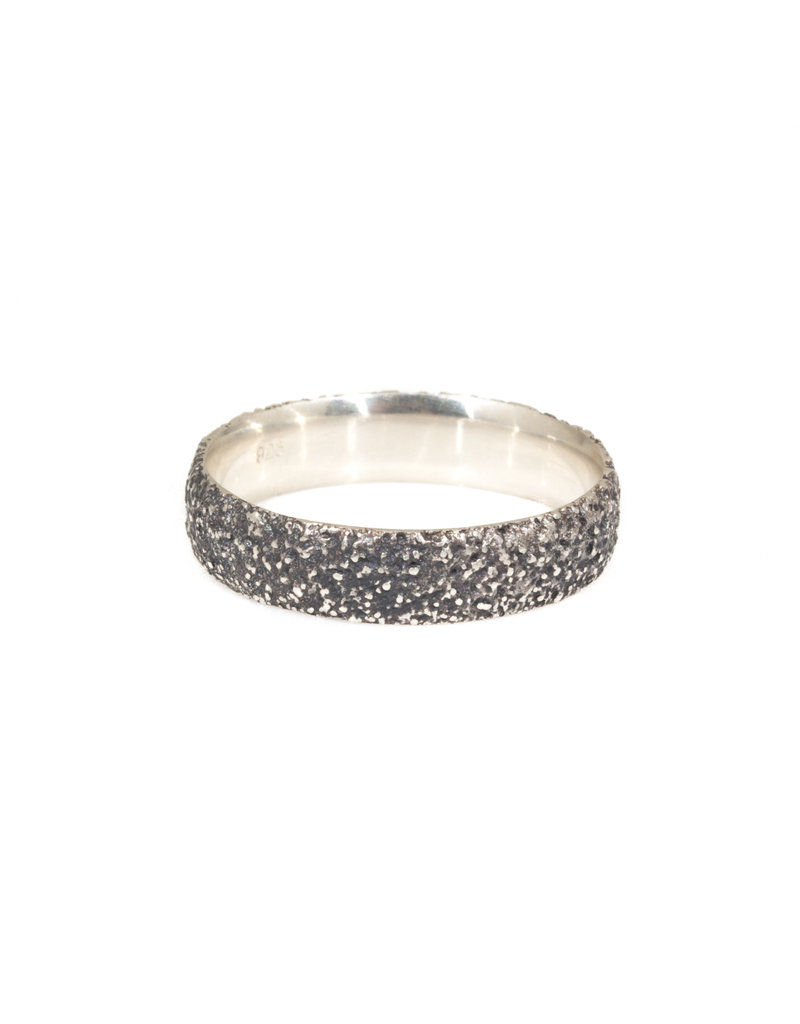 Oxidized Silver Sand Band