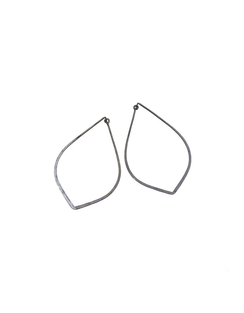 Raindrop Tension Hoop Earrings in Oxidized Silver