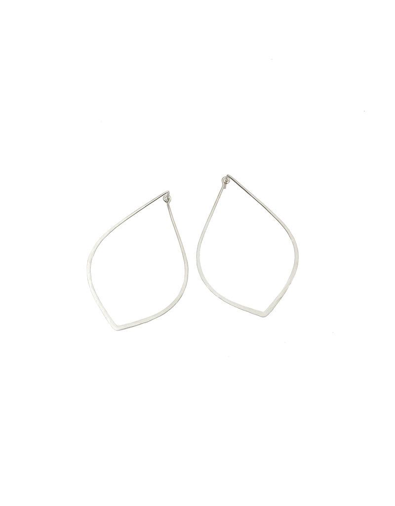 Raindrop Tension Hoop Earrings in Silver