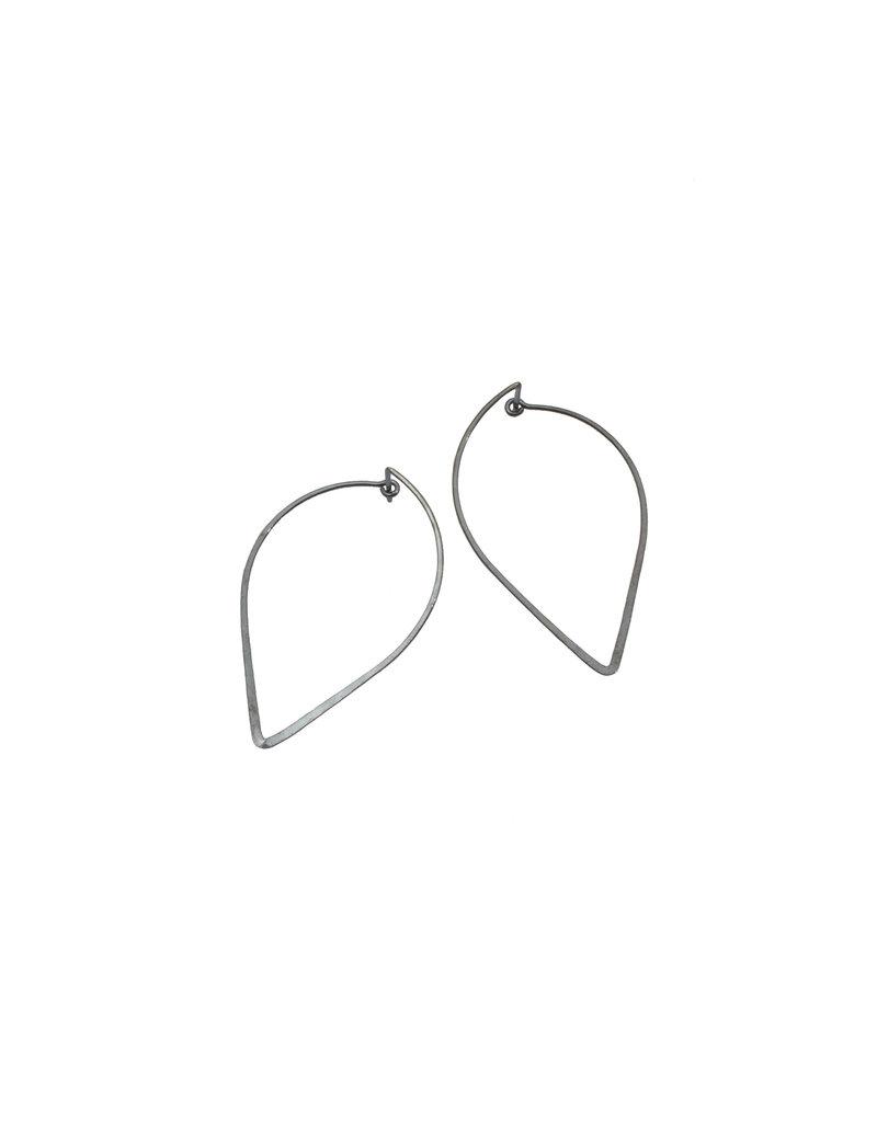 Reverse Teardrop Tension Hoop Earrings in Oxidized Silver
