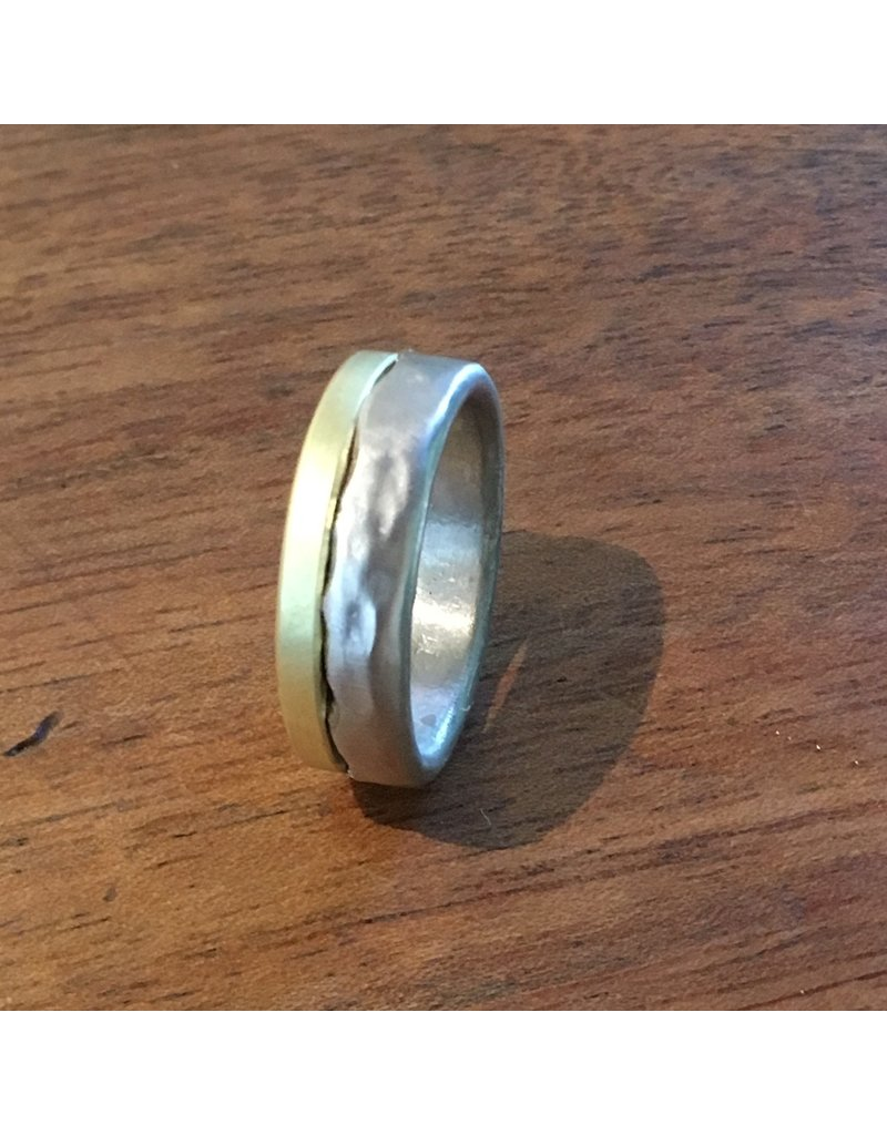 Custom Set of Dipped Bands in 18k Palladium White Gold and 18k Yellow Gold