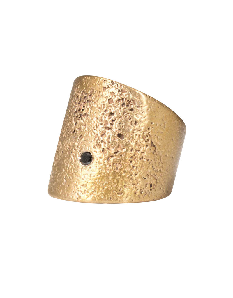 Textured Cuba Ring in Antique Bronze with 2.5 mm Black Diamond