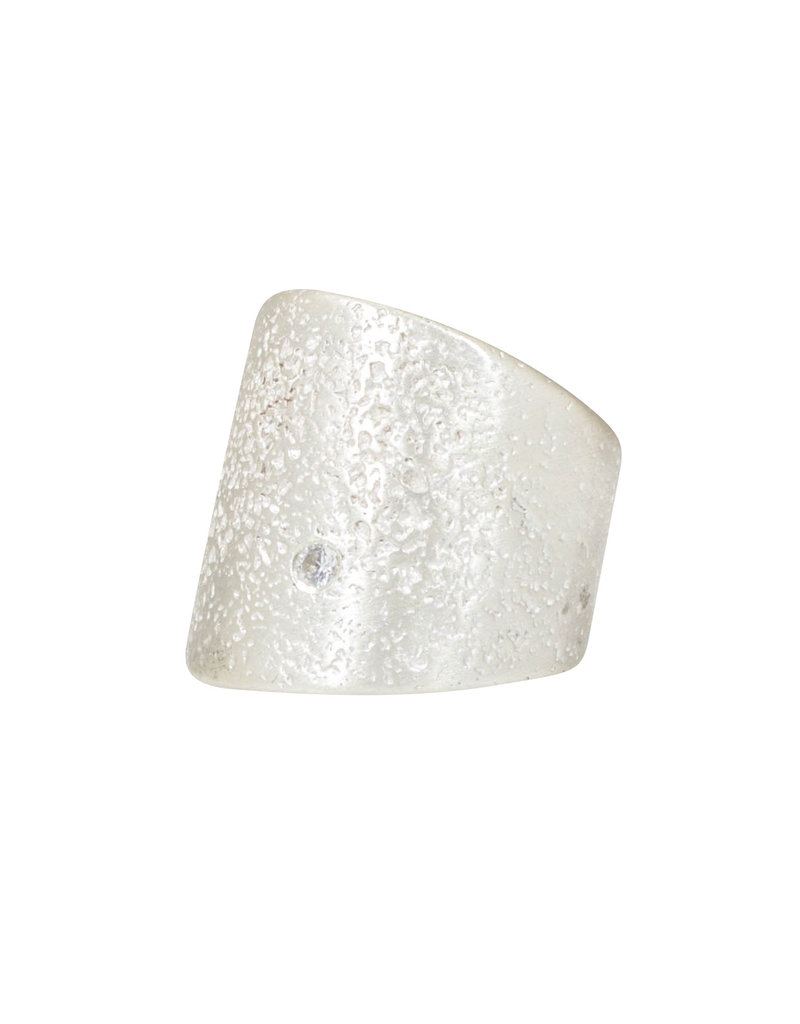 Textured Cuba Ring in Silver with 2.5 mm White Sapphire