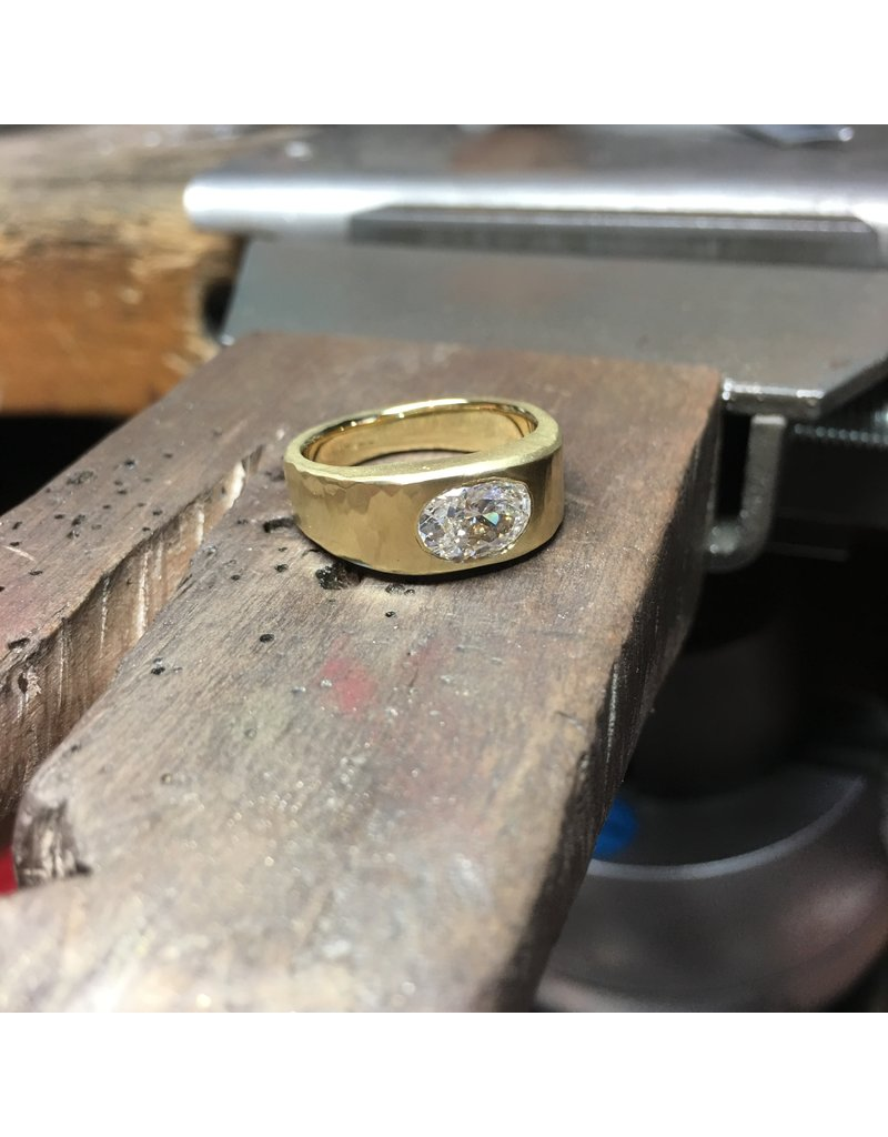 Custom Forged Ring with Oval Diamond in 20k Yellow Gold