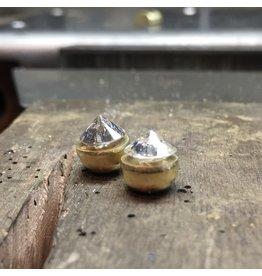 Custom Scattered Pathways Diamond Earrings in 18k Yellow Gold