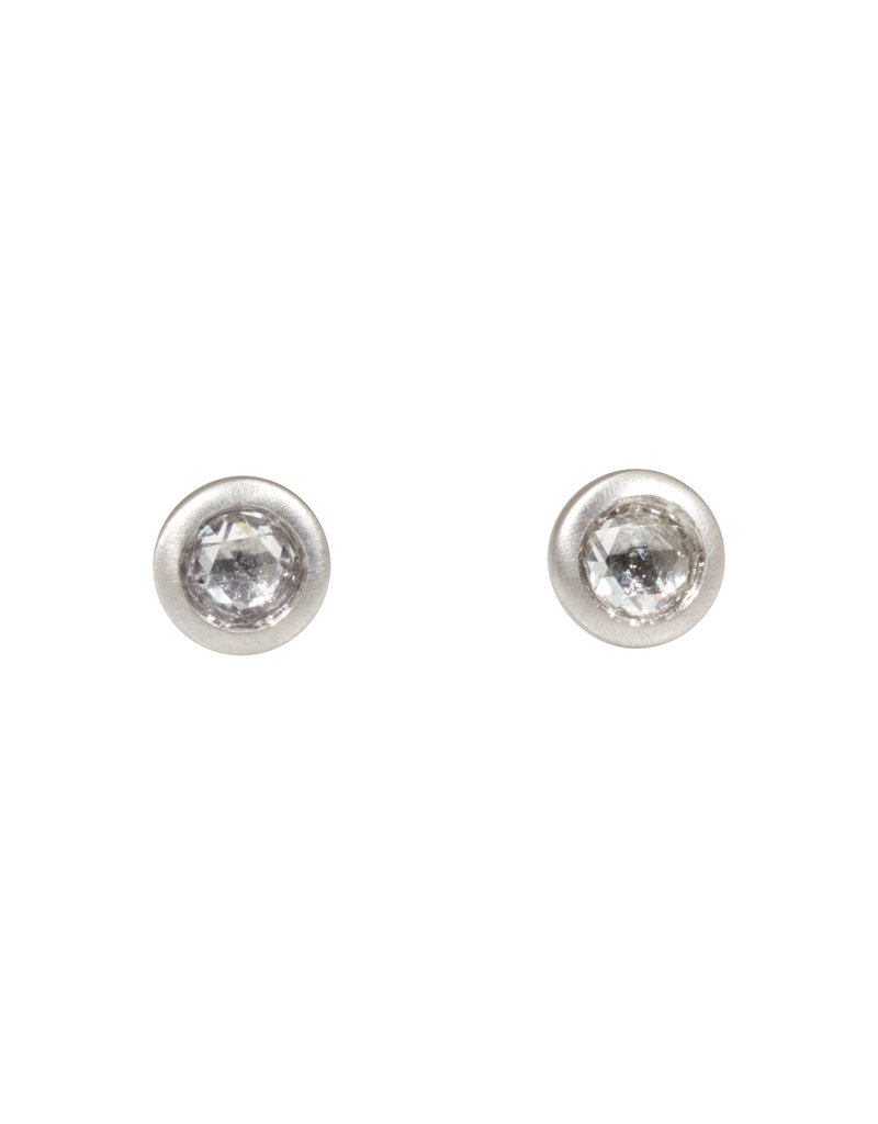 Mogul Rosecut Diamond Post Earrings in Platinum