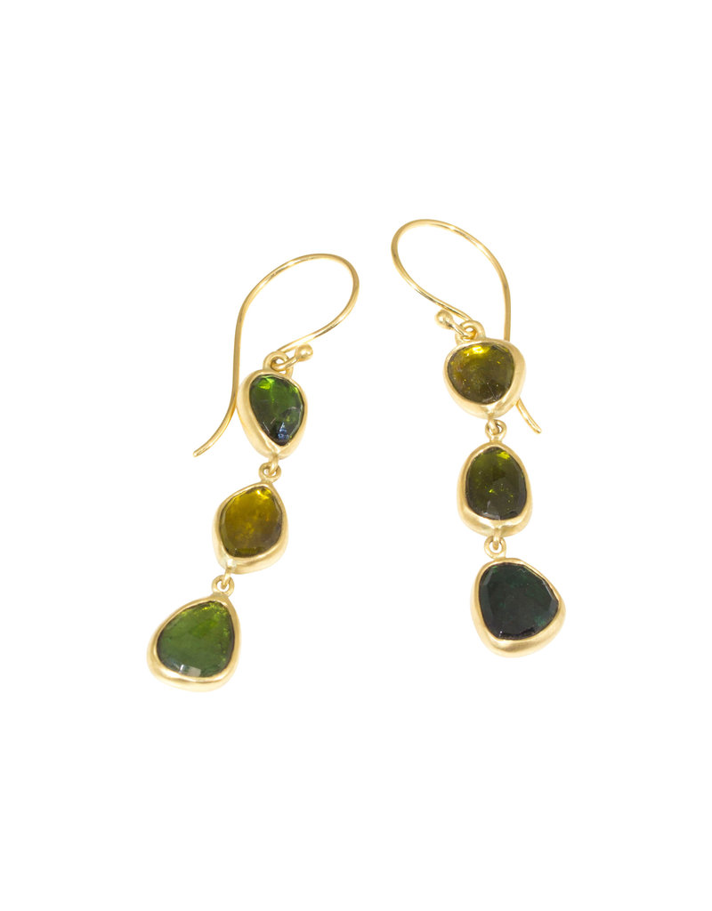 Three Rosecut Green Tourmaline Dangle Drop Earrings in 18k Yellow Gold