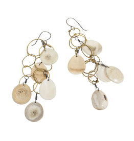 Layered Antler Drop and Brass Circles Earrings