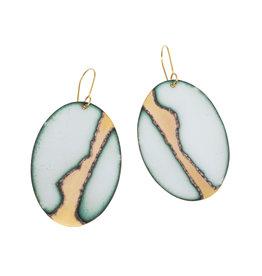 Enamel, Brass, Gold Plate Earrings