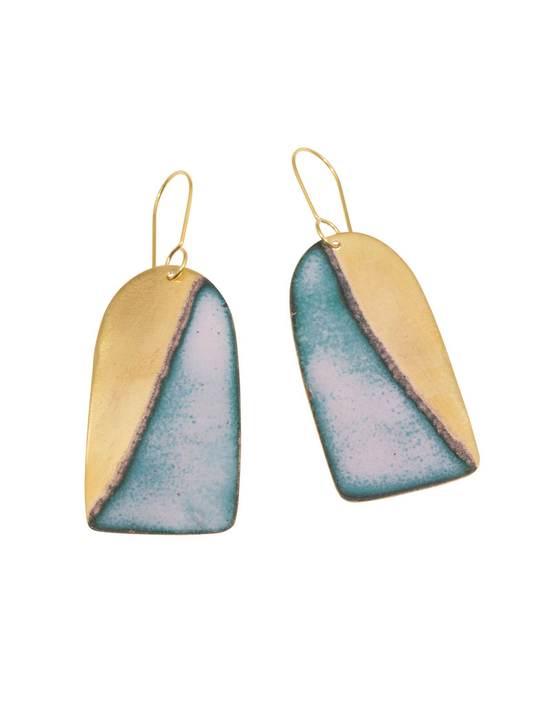 Blue Horizon Enamel, Brass, Gold Plate Earrings