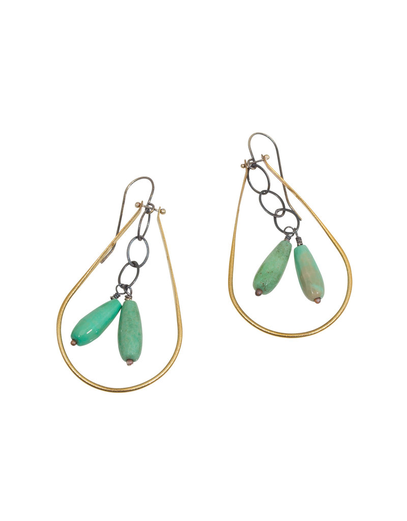 Chrysoprase and Brass Earrings