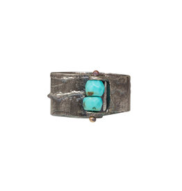 Turquoise Bead Ring in Silver