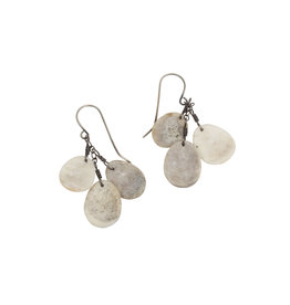 Antler Triple Dish Earrings with Silver and Brass