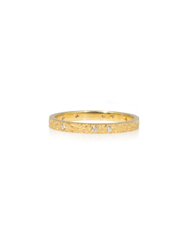 2mm Sand Band with White Diamonds in 18k Yellow Gold