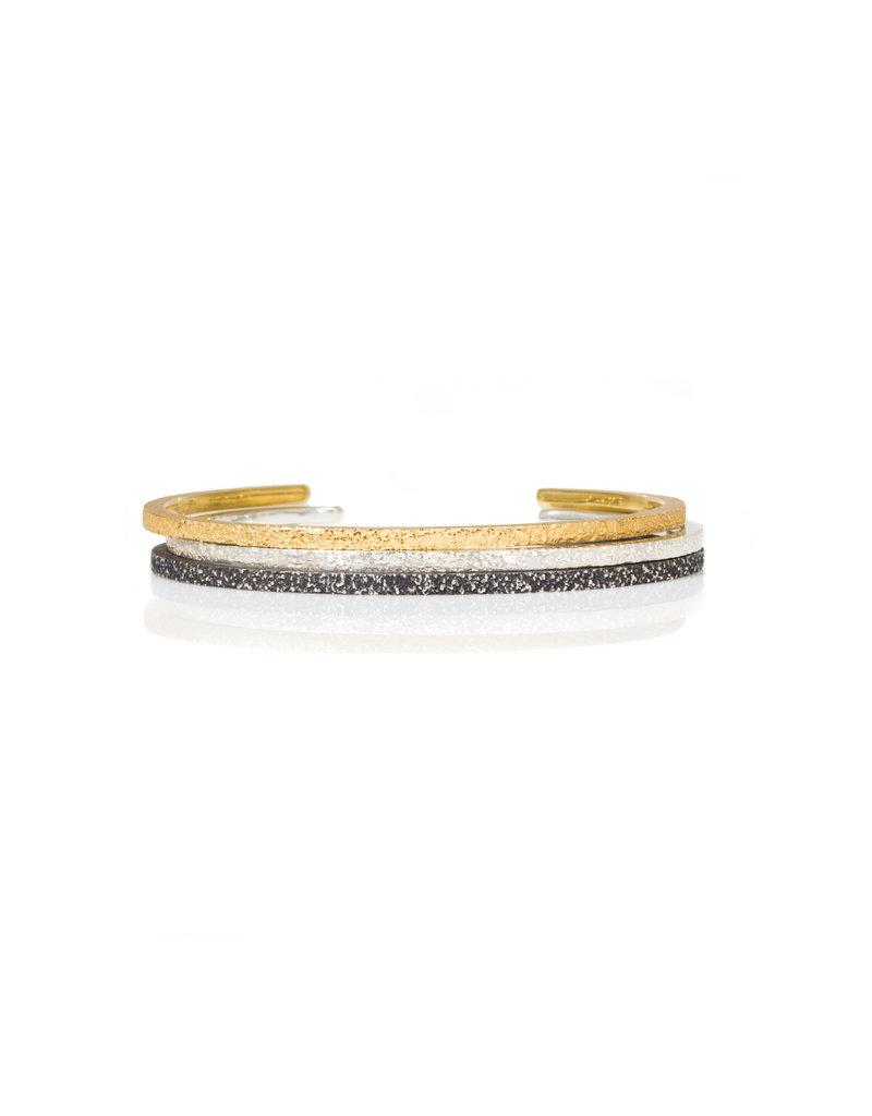 Hammered Sand Cuff Bracelet in Silver