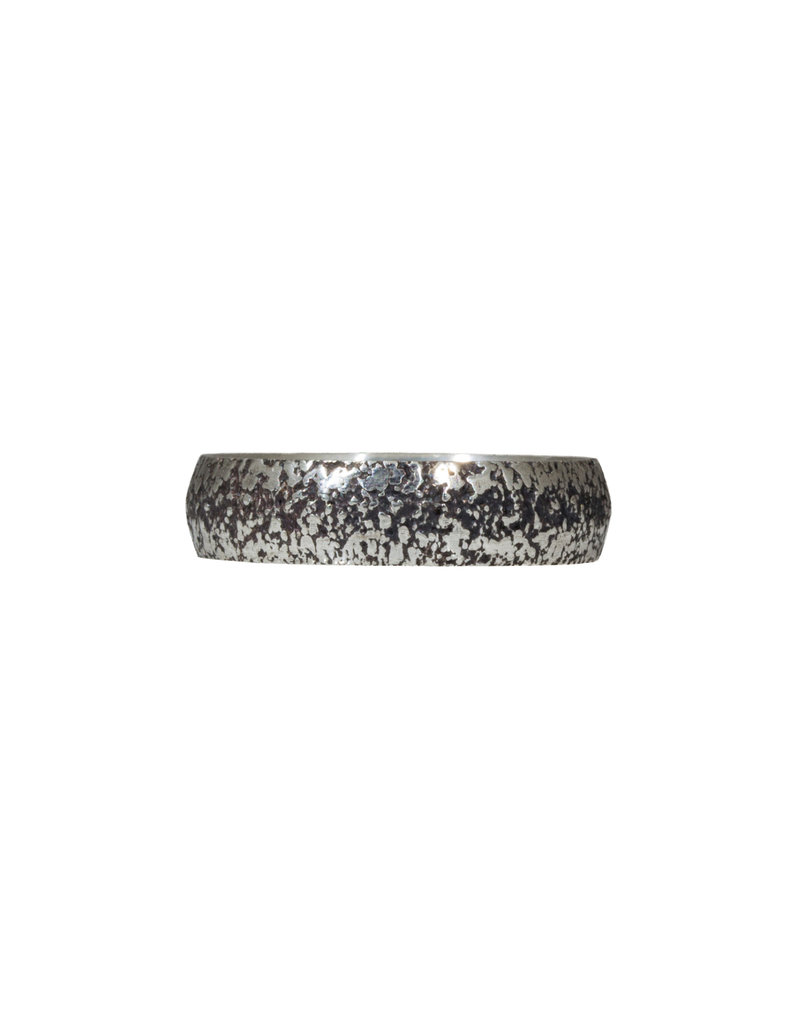 Compressed Sand Band in Oxidized Silver