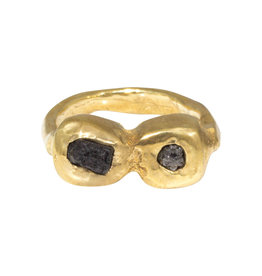 Nan Collymore Two Rough Diamond Ring in Brass