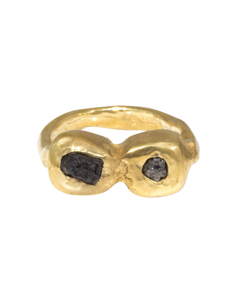 Two Rough Diamond Ring in Brass