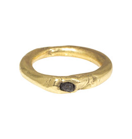 Nan Collymore Brass Ring with Raw Black Diamond