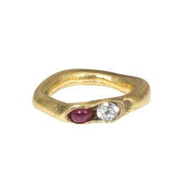 White Sapphire and Ruby Ring in Brass