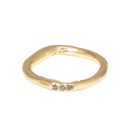 Nan Collymore Oval Organic Ring in with Three Diamonds 14k Gold