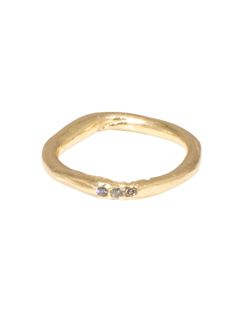 Oval Organic Ring in with Three Diamonds 14k Gold