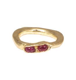 Nan Collymore Organic Ring in with Two Rubies 14k Gold