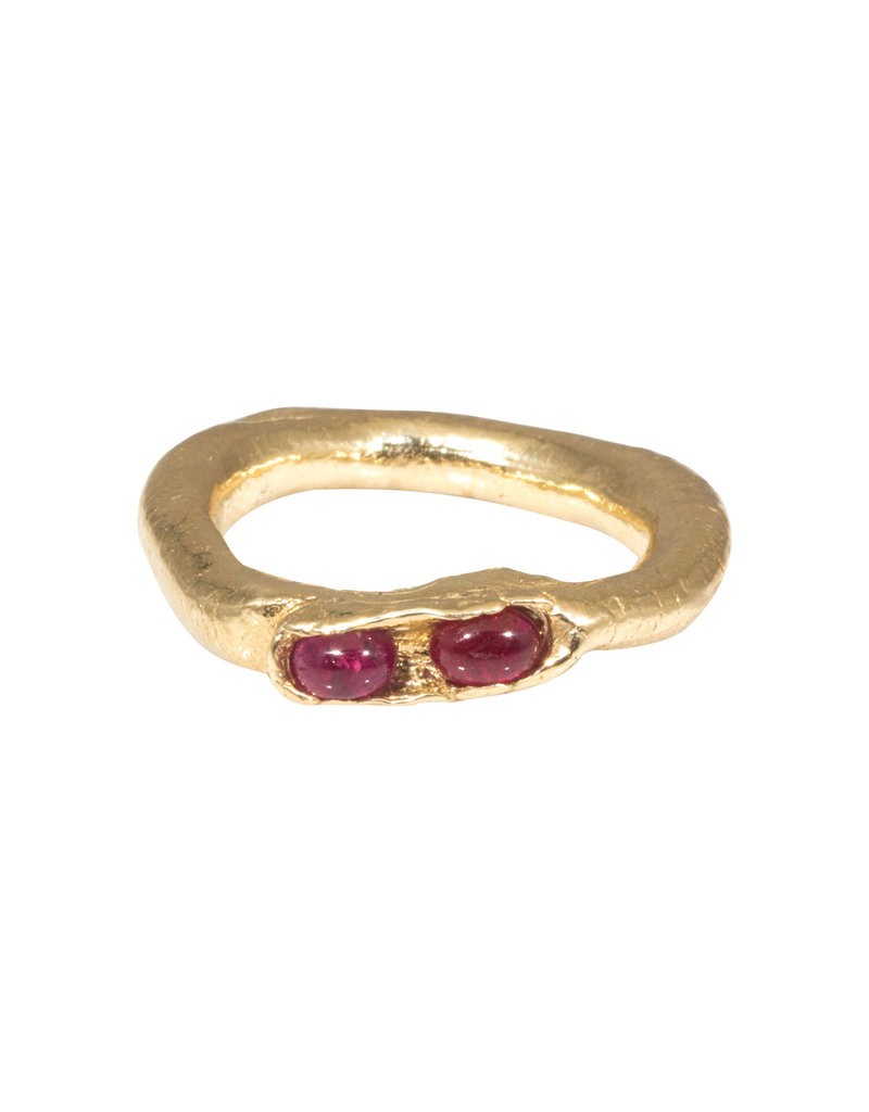 Organic Ring in with Two Rubies 14k Gold