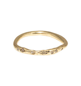 Nan Collymore Organic Shape Ring in with Seven Diamonds in 14k Gold