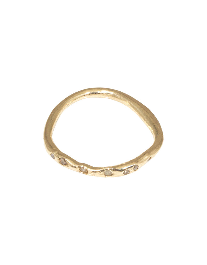 Organic Shape Ring in with Seven Diamonds in 14k Gold