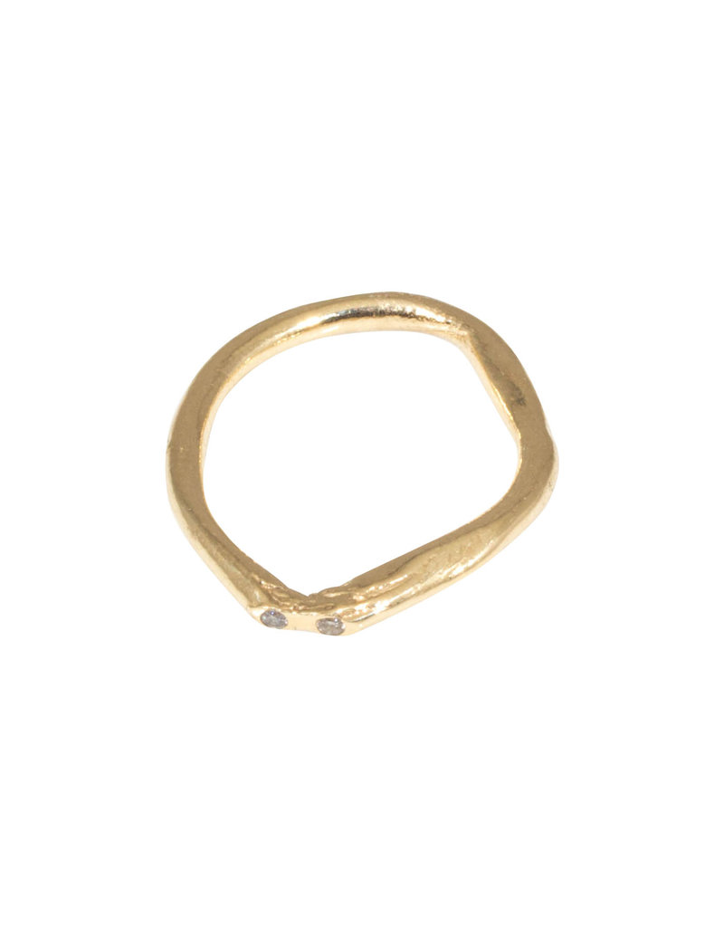 Organic Shape Ring in with Two Diamonds in 14k Gold