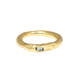 Nan Collymore Organic Shape Ring in Brass with One White Sapphire