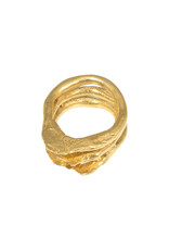 Triple Rough Ring in Brass