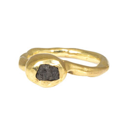 Raw Diamond Ring in Brass