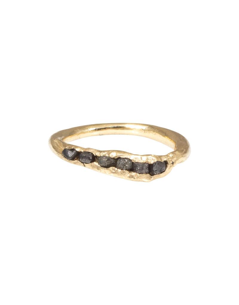 Six Raw Diamond Ring in 14k Gold