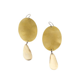 Oval Brass and Antler Earrings