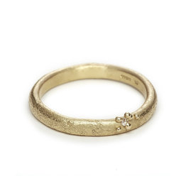 Textured Band with Champagne Diamond and Granules in 14k Yellow Gold