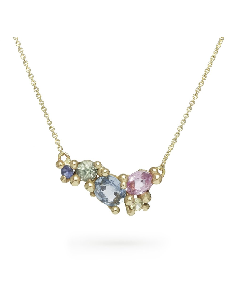 Mixed Sapphire Bar Necklace in 14k Yellow Gold