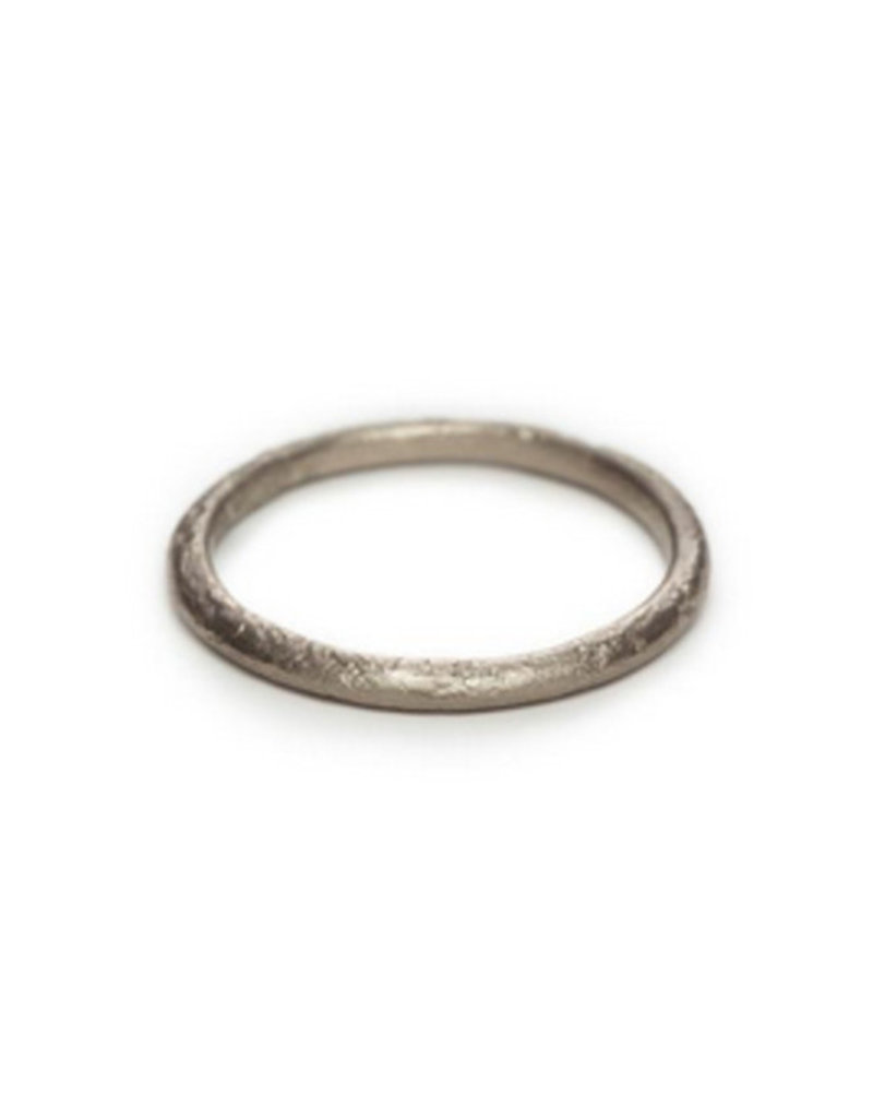 Thin Stone Textured Band in 18k White Gold