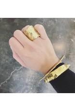 Large Organic Shape Tube Ring in Brass